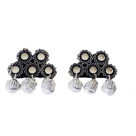 Alamar Spanish black silver ball earrings