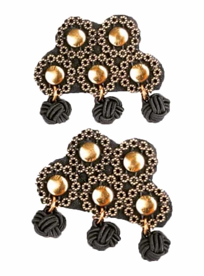 Alamar Spanish gold black ball earrings