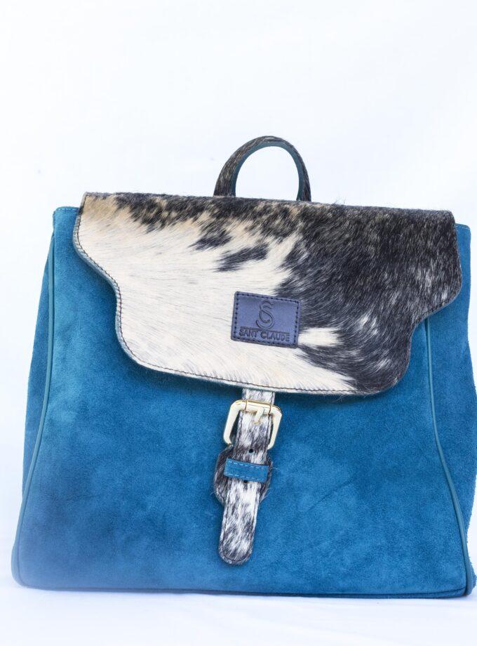 Bolso Mochila azul piel de toro