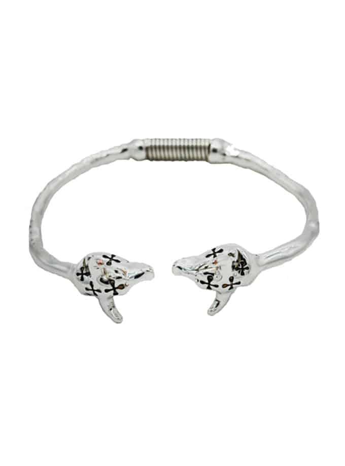 Silver bull heads bracelet