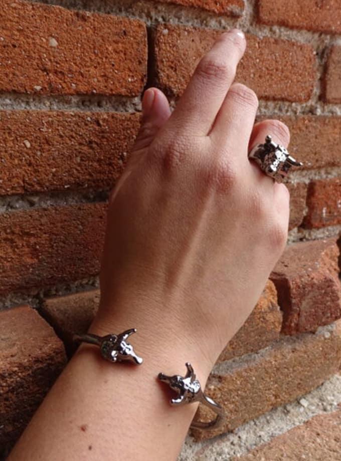 grey  bull heads bracelet