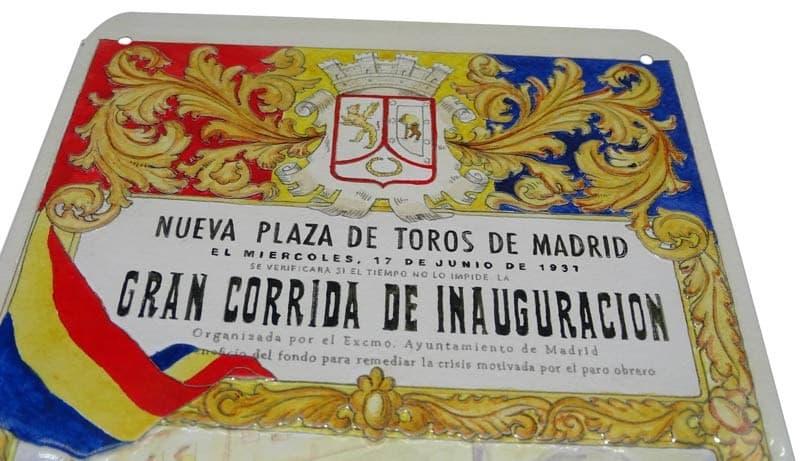Placa metal vintage Inauguración