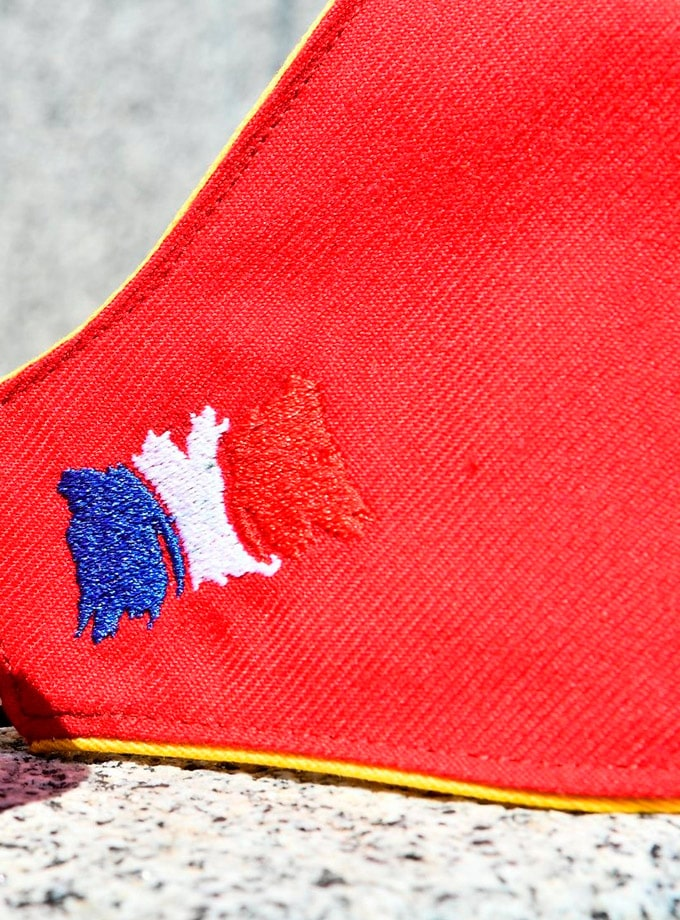 Detalle bandera francesa en mascarillas de muleta