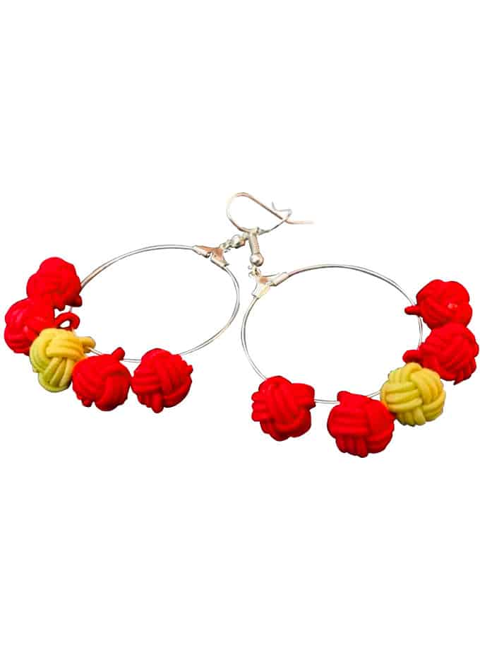 "Red ""Lo Nuestro"" earrings"