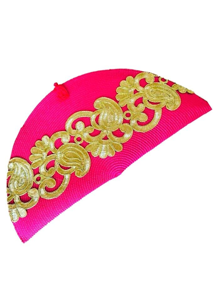 Fuchsia embroidered strap bag