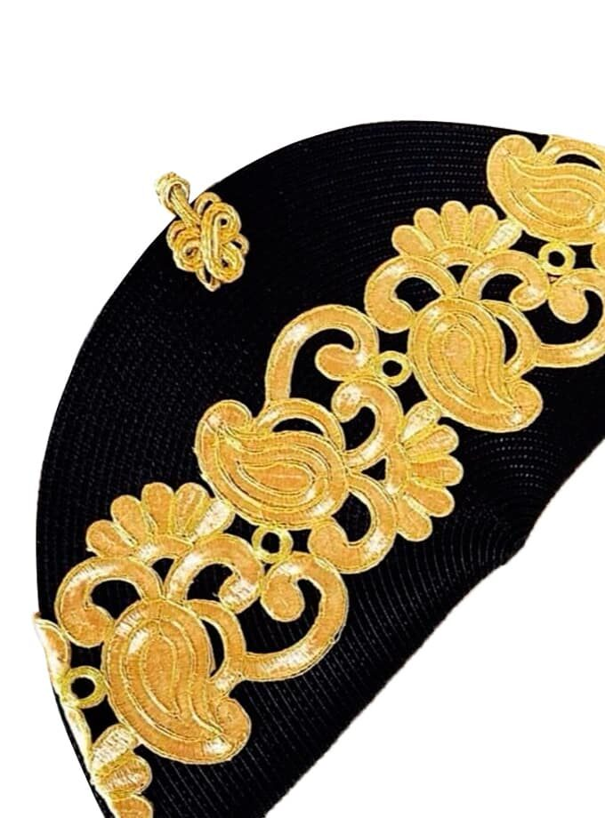 Black gold embroidered strap bag